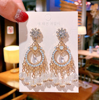 Wholesale fashion large circle crystal tassel shiny rhinestone diamond pendant earrings jewelry