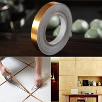 pvc flooring rolls 2021 - 50M roll Waterproof Gold Silver Seam Line Tile Floor sticker Self-adhesive Home Waterproof Floor Gap Stickers Bathroom Decor