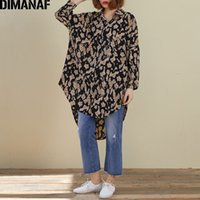 Discount ladies leopard blouses DIMANAF Plus Size Women Blouse Shirts Spring Summer Lady Tops Tunic Oversize Chiffon Vintage Leopard Loose Casual Long Sleeve 210225