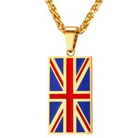 pendant necklaces uk 2021 - Flag Of UK Necklaces & Pendants Yellow Gold Color Stainless Steel England Symbol Necklace Women Men Jewelry P027