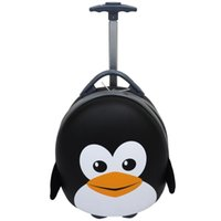 Cute Kids Cartoon Penguin Carry On Trolley Luggage Bag Suitcase with Wheels for Travel