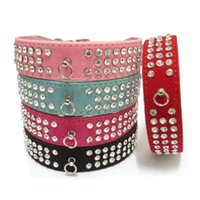 Discount dog bling collar 1pcs Pet Collar Bling Rhinestone Leather Crystal Diamond Puppy Pet Dog Collar Perros Supplies Products Led Dog Leash