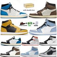 Top Quality Boy Men Women High Retro Jumpman 1 1s Basketball Shoes Ts Dark Mocha University Blue Fearless Obsidian Off UNC Pollen Sports Trainers Sneakers With Box