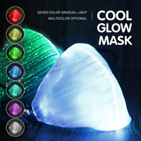 half face light up mask 2021 - DHL Halloween Luminous Mask 7 Colors Glowing LED Face Masks for Christmas Halloween Light Up Party Festival Masquerade Rave Mask