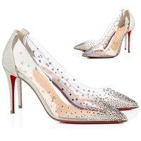 Ladies High Heels Strass Red Bottoms Pumps Black Nude Women Wedding Dress Shoes Wedding heels mesh+rhinestone Party Dress Discount With Box