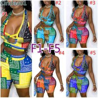 Women Tracksuits Two Pieces Set Deisgner Outfits Sexy Summer Personality Letters Pattern Printed Vest Shorts Ladies Sportwear 8 Styles