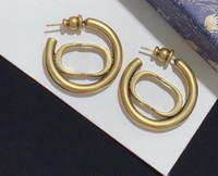 Have stamp fashion letter hoop earrings aretes orecchini for women party wedding lovers gift jewelry engagement with box hot
