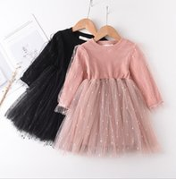 designer dresses girls 2021 - Knit Princess Dress Gauze Skirt Bubble Sleeve Dress Girls Long Sleeved Tulle Skirts Tutu Kids Designer Clothes Western Style WMQ572