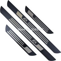 For SEAT LEON ARONA ATECA IBIZA FR Stainless Carbon Fiber Door Sill Kick Scuff Plates Protector Trim Cover Car Styling Accessory