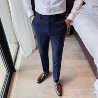 pants man game 2021 - High Quality Korean Skinny Business Adjustment Men's Dress All Solid Game Streetwear Straight Pants From Formal Office Wear 36 Mskd