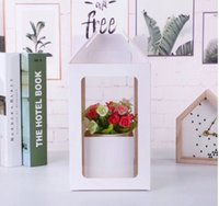 Flower Bouquet Packaging boxes Flowers Gift Wrap High-end Transparent PVC Window Hand-carry Kraft Paper Box