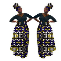2021 Autumn Dashiki African High Waist Ball Grown Skirt Bazin Riche African Skirt+ headscarf africaine pour les femme WY1270