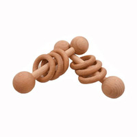 Baby Teether Toys Beech Wooden Rattle Wood Teething Rodent Ring Musical Chew Play Gym Montessori Stroller For Children Goods