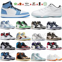 Mens Shoes Jumpman 1 1s University Blue Sliver Toe Dark Mocha Hyper Royal Court Purple High Top 11 11s Black Cat Sneakers Womens Trainers size 13