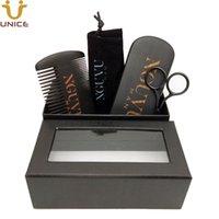 MOQ 100pcs Custom LOGO Men Beard Hair Care Set Double Sides Teeth Black Wood Combs Boar Bristle Brush & Scissors in Gift Box