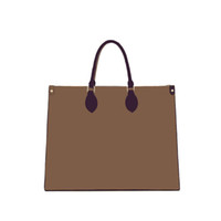 Fashion high quality lady brown shopping bag luxury 3A hot sale classic brand leather canvas large capacity handbag