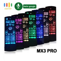 MX3 Pro 7 Colorfull Backlit Mini Wireless Keyboard Air Mouse Mic Google Voice Remote Control GYRO IR Learning for Android TV Box PC