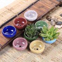 YeFine 8PCS Lot Ice-Crack Ceramic Flower Pots For Juicy Plants Small Bonsai Pot Home and Garden Decor Mini Succulent Plant Pots LJ201222