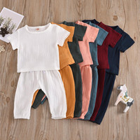 Discount sleeveless trench INS 7 Colors Baby Kids Boys Clothing Sets Suits Organic Linen Cotton Short Sleeve Tees with Straps Pants 2Pieces Summer Children Outfits