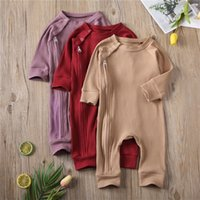 Discount knitted baby clothes boy Baby Boys Girls 0-24M Rompers Autumn Newborn Baby Clothes For Long Sleeve Kids Boys Knitted Zipper Jumpsuit Baby Girls Outfits 210312