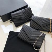 Genuine leather chain purse fashion clutch lady chain shoulder bag cowhide handbag card holder purse messenger women Wholesale