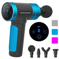 LCD Display Massage Gun Deep Muscle Massager Body Massage Exercising Relaxation Slimming Shaping Pain Relief USB with 4 Heads 210309