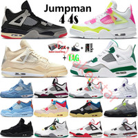 2021 Cream White x Sail Bred Jumpman 4 4s Mens Basketball Shoes Paris Neon Black Cat Fire Red Metallic Purple Running Shoes Sneakers Size 13