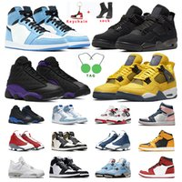 men basketball shoes 1s University Blue Pollen 4s White oreo sail Black Cat 13s Court Purple Flint Hyper Royal women mens sports sneakers trainers outddor size US5.5-13