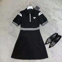 College Style Slim Dresses Outdoor Double-shoulder Letter Printed Dress Personality Striped Designer Short-sleeved Skirt