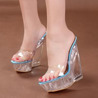 transparent wedges slippers 2021 - HOKSZVY Women Club Party High-heeled Sandals Slippers Transparent Crystal Shoes Waterproof Platform 15CM Wedge Shoes LFD-126 210225