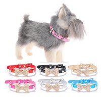 dog bling collar 2021 - 1Pc Puppy Cat Collars Adjustable Leather Bling Bowknot Kitten Collar For Small Medium Dogs Cats Chihuahua Pug Yorkshire