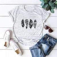 Discount feather shirts plus size Women Summer Plus Size T-Shirt 100%Cotton Tops Fashion Feather Print Shirt O-Neck Short Sleeve Tees Black Graphic T Shirts S-5XL