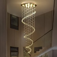 Modern LED Crystal Chandelier Lighting Spiral Stair Pendant Light Fixtures for Hotel Hall Stairs