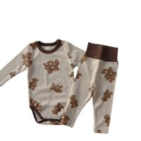 bear print underwear 2021 - Baby Pajamas Bear Rabbit Hare Print Infant Boys Girls Home Underwear Long Sleeve Top Shirt Romper+Pant Toddler 2pcs Clothes Set