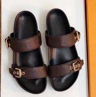 2021 designer Slippers Leather sandal Slides 2 Straps with Adjusted Gold Buckles Women Summer flip flops have box size 42