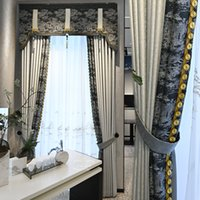 Wholesale Light Luxury New Chinese Style Curtain Living Room Study Balcony Hotel Villa Floor Window Curtain Yarn Custom Moke