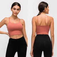 L-83A Solid Color Women Yoga Bra Shirts Sports Vest Fitness Outfits Sexy Underwear with Removable Chest Pads Breathable Soft Sweat-Wicking Lady Tank Tops for Training