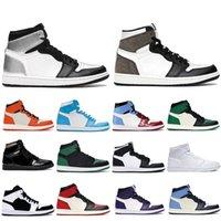 Mens 1 high OG basketball shoes 1s University Blue silver royal toe black metallic gold mid smoke grey UNC Patent men women Sneakers trainers