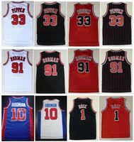 College Wears Embroidery 33# Scottie Pippen Shirt Red White Black Stripe 91# Dennis Rodman Jersey Mens Sports Shirts Jerseys Stitched S-XXL