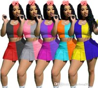 2021 Womens Sports Tracksuits Designer Summer Sexy Crop Top Shorts Yoga Outfits Slim Vest Skirt Two Pieces Set Jogging Suits Plus Sizes