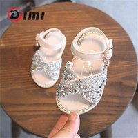 Discount rhinestone princess flat shoes DIMI New Girl Baby Sandals Sequin Rhinestone Little Girl Princess Sandals 0-3 Year Summer Toddlers Shoes Flat Soft 210326