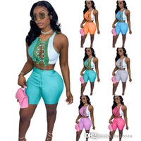 Women Tracksuits Two Piece Sets Designer Summer Outfits Sexy Round Neck Color Contrast Splicing Strap Hollow Out Sleeveless Vest Shorts