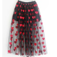 Discount skirts for boys Skirt For Girls Red Heart PatternTeenager Summer Skirt Maxi Long Mesh Tulle Girl Skirts Children Clothes 8 10 12 14 16 Yrs 210319