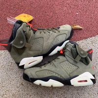 2021 Release Authentic Travis Scott 6 Cactus Jack Medium Olive Shoes 6S GLOW IN THE DARK Army Green Suede 3M MENS Women Outdoor Zapatos Sports Sneakers With box