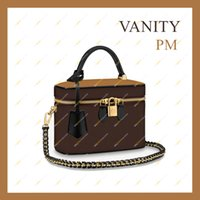2021 Ladies Fashion Designer High Quality TOP 5A VANITY PM Cosmetic Bags M45165 Contrasting Color Lock Shoulder bag Messenger bags In Stock