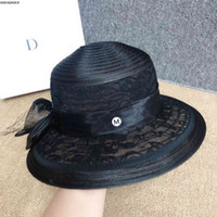 Wholesale French Hepburn Lace Hat Elegant Temperament Celebrity Mesh Bow Straw Summer Big Eaves Sunshade