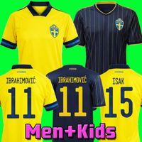 2020 2021 Sweden IBRAHIMOVIC Men 20 21 Soccer Jerseys KALLSTROM LARSSON Home Away Football Shirt National Team TOIVONEN MARCUS BERG Uniforms kids kit