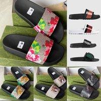 Designer Rubber slide sandal Floral brocade men slipper Gear bottoms Flip Flops women striped Beach causal slipper with Box US5-11