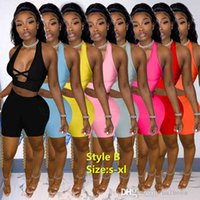 Summer Women Tracksuits Two Piece Sets Designer Outfits Sexy Round Neck Color Contrast Splicing Strap Hollow Out Sleeveless Vest Shorts