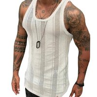 Discount tank men beach Men's Tank Tops 2021 Summer Gym Sleeveless Shirt Men Knitted Solid Vest Beach Wear Clothing White Top